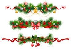 Weihnachtsdekoration mit geziertem Baum Stockfotografie