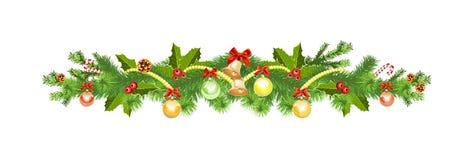 Weihnachtsdekoration mit geziertem Baum vektor abbildung