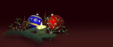 Weihnachtsdekoration mit Kerze Stockbild