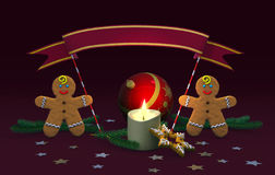 Weihnachtsdekoration mit Lebkuchenmännern Stockfoto