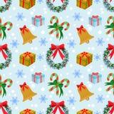 Weihnachtsdekoration mit nahtlosem Muster der Ikonenelemente stock abbildung