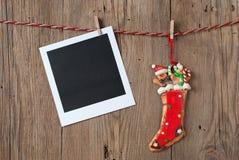 Weihnachtsdekoration mit sofortigem Foto Stockfoto