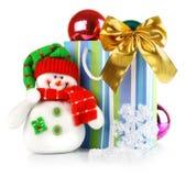 Weihnachtsdekoration mit Spielzeug-Schneemann Lizenzfreies Stockbild
