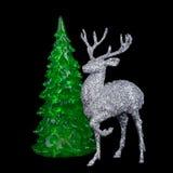 Weihnachtsdekoration mit Tannenbaumniederlassung und -rotwild Lizenzfreies Stockfoto