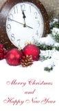 Weihnachtsdekoration 2015 mit Uhr und Bällen Stockfotografie