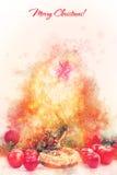Weihnachtsdekoration mit Weidenkorb mit Stroh und farbigem n Lizenzfreie Stockfotografie