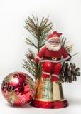 Weihnachtsdekoration mit Weihnachtsmann Stockbild