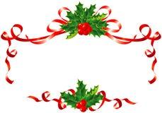 Weihnachtsdekoration/Stechpalme und Farbbandrand Lizenzfreie Stockbilder