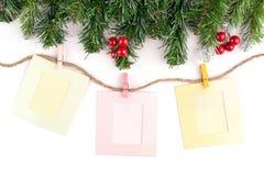 Weihnachtsdekoration und leerer Fotorahmen lizenzfreies stockbild