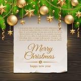 Weihnachtsdekoration und Papierfahne Stockfotografie