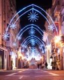 Weihnachtsdekoration in Valletta, Malta stockbild