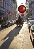 Weihnachtsdekoration in Wien Stockbild