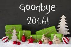 Weihnachtsdekoration, Zement, Schnee, Text Auf Wiedersehen 2016 Stockbild
