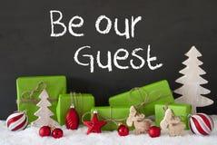 Weihnachtsdekoration, Zement, Schnee, Text ist- unser Gast Stockbild