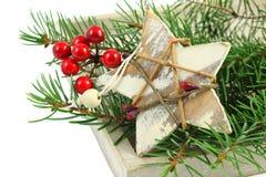 Weihnachtsdekorationen über Weiß Stockbilder