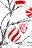 Weihnachtsdekorationen auf einem Baum Stockfotos