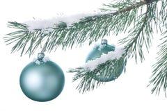Weihnachtsdekorationen auf einem schneebedeckten Zweig Stockfotografie