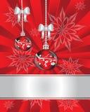 Weihnachtsdekorationen auf rotem Hintergrund Lizenzfreies Stockbild