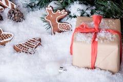 Weihnachtsdekorationen auf weißem Schnee Lizenzfreies Stockbild