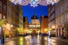 Weihnachtsdekorationen in der alten Stadt von Gdansk, Polen Stockfotografie