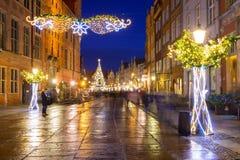 Weihnachtsdekorationen in der alten Stadt von Gdansk, Polen Stockbilder