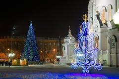 Weihnachtsdekorationen in der orthodoxen Kirche lizenzfreies stockfoto
