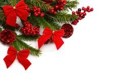 Weihnachtsdekorationen in der roten Farbe Stockfotos