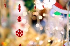 Weihnachtsdekorationen Edschneeflocken mit Raum für Text Lizenzfreies Stockfoto