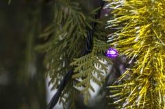 Weihnachtsdekorationen in Form von hängender festlicher Stimmung des Lamettas vor dem neuen Jahr Lizenzfreie Stockfotos
