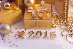 Weihnachtsdekorationen, -geschenke und -zahlen Lizenzfreie Stockbilder