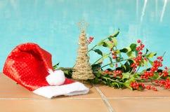 Weihnachtsdekorationen im Pool Lizenzfreie Stockbilder