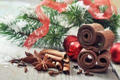 Weihnachtsdekorationen mit Gewürzen lizenzfreie stockfotos