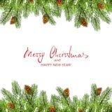 Weihnachtsdekorationen mit Tannenbaumasten und -schnee Stockfotos