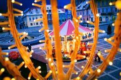 Weihnachtsdekorationen in Piata Sfatului, Brasov, Rumänien Lizenzfreies Stockbild