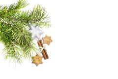Weihnachtsdekorationen und -plätzchen stockfotografie