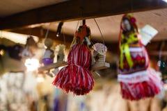 Weihnachtsdekorationen und Seil Retro- Ukraine Stockfotografie