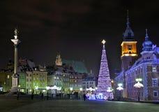 Weihnachtsdekorationen in Warschau Stockbild