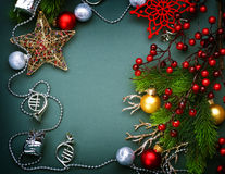 Weihnachtsdekorationfeld Stockbilder