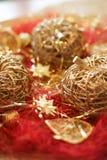 Weihnachtsdekorationsäpfel Stockbild