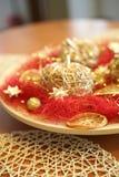 Weihnachtsdekorationsäpfel Stockfotos