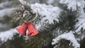 Weihnachtsdekorations-draußen gefrorener Niederlassungs-Hintergrund-Winter, fallender Schnee stock footage