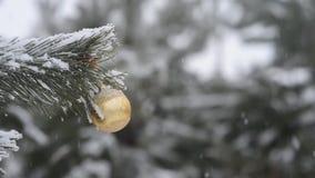 Weihnachtsdekorations-draußen gefrorener Niederlassungs-Hintergrund-Winter, fallender Schnee stock video footage