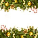 Weihnachtsdekorations-Grenze - Hintergrund lokalisiert auf weiß- hor Stockbild