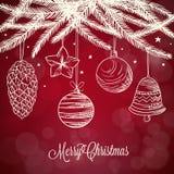Weihnachtsdekorations-Hintergrundkarikatur Lizenzfreies Stockbild