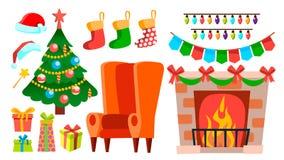 Weihnachtsdekorations-Ikonen-Vektor Kamin, Socke, Stuhl, Weihnachtsbaum, Geschenke, Lichter, Hut Lokalisierte flache Karikatur stock abbildung