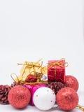Weihnachtsdekorations-Weißhintergrund Lizenzfreie Stockbilder