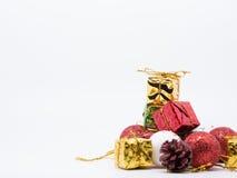 Weihnachtsdekorations-Weißhintergrund Stockfotografie