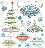 Weihnachtsdekorationsgestaltungselemente Fröhliches Weihnachten und glücklich Stockfotografie