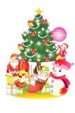 Weihnachtsdekorationshintergrund mit Geschenke und Weihnachtsmann - kreative Illustration eps10 Lizenzfreies Stockfoto