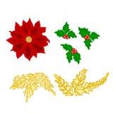 Weihnachtsdekorationspoinsettiastechpalmen- und -goldblattvektor Stockfotos